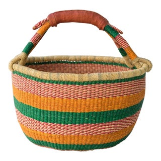 African Market Woven Basket - Green, Orange & Pink For Sale
