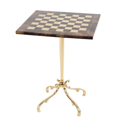 1950S ALDO TURA GOATSKIN GAMES TABLE WITH BRASS BASE For Sale