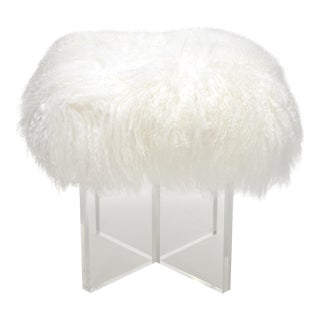 Curly Kiss Bright White Footstool For Sale