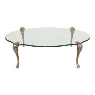 Traditional LaBarge Brass & Glass Cocktail Coffee Table For Sale