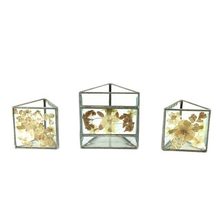 Stained Glass Style Pressed Floral Votives Candle Holders - Set of 3 For Sale
