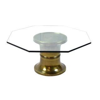 1960s Mid-Century Modern Octagonal Glass Top Brass Pedestal Coffee Table