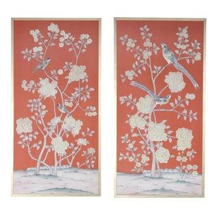 """Somerleyton Hall"" Hand-Painted Chinoiserie Diptych on Dark Orange Silk by Jardins en Fleur - Set of 2 For Sale"