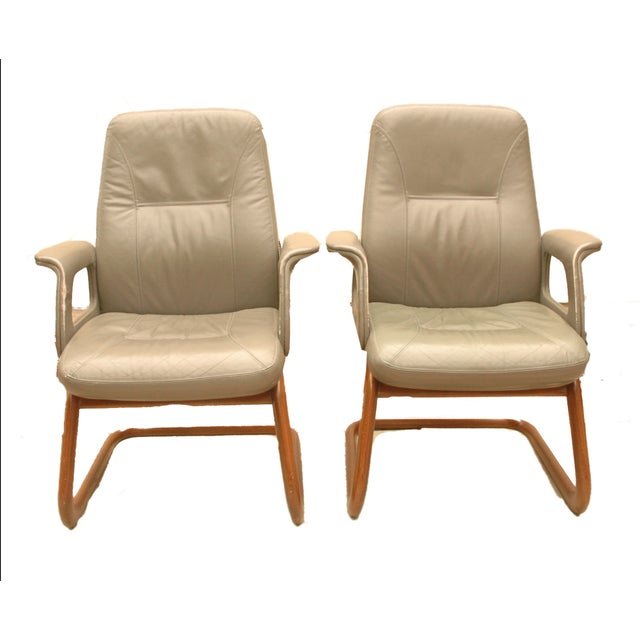 Modern Leather German Chairs - A Pair - Image 2 of 6