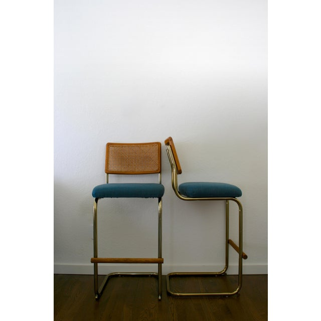Cane, Brass and Teal Upholstered Cantilever Barstools - A Pair For Sale - Image 9 of 9
