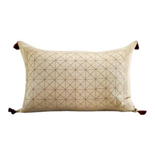 Avani Linen Hand Embroidered Pillow For Sale