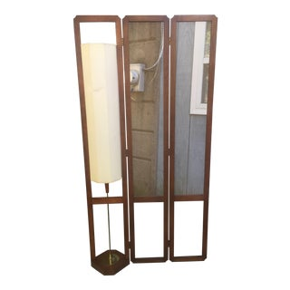 Mid Century Room Divider and Lamp For Sale
