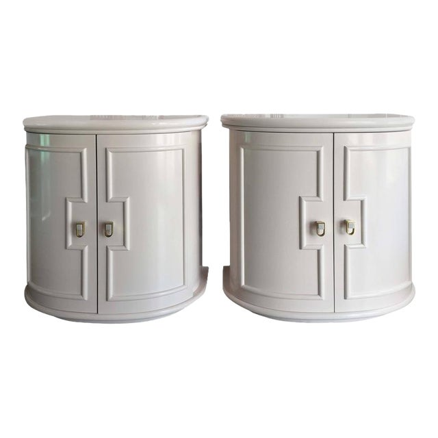 Vintage Pink Lacquered Chests Nightstand Demilune Tables - a Pair - Image 12 of 12