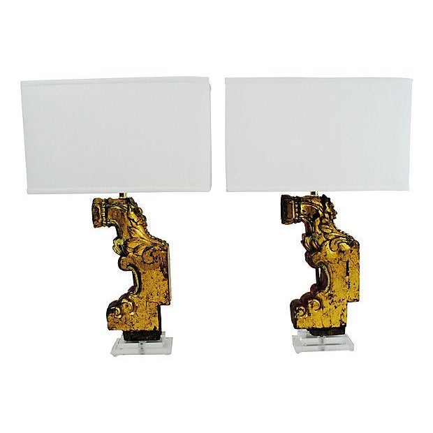Carved Antique Wood & Lucite Table Lamps - A Pair For Sale