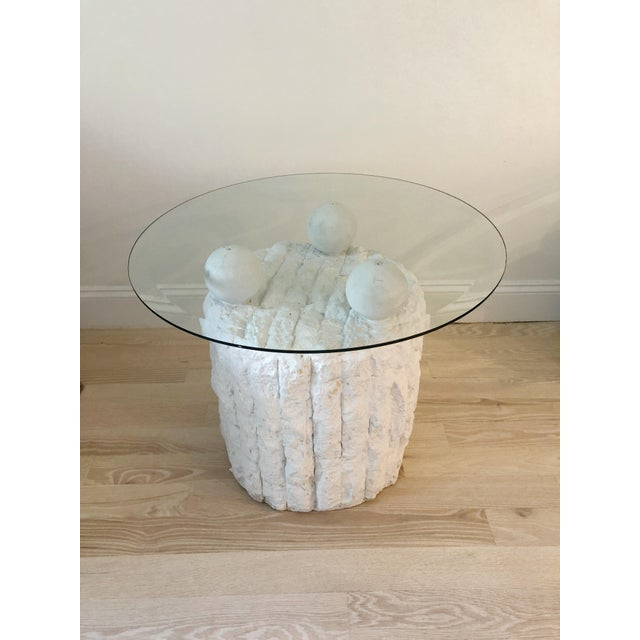 Sculpted Plaster and Glass Side Table For Sale In New York - Image 6 of 6
