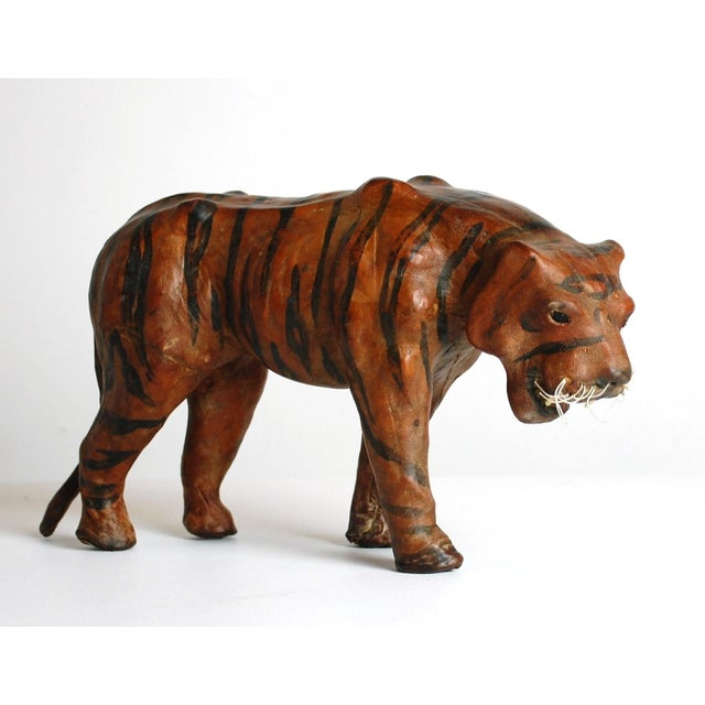 Mid Century Leather Tiger Sculpture - Image 2 of 6