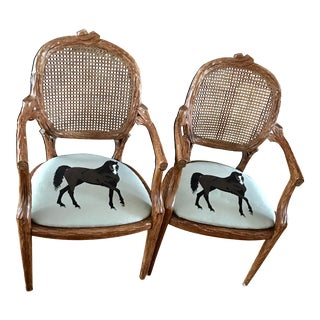 Horse Play Carved Wood Cane Chairs, a Pair For Sale