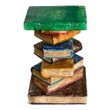 Image of Hand Carved Stack of Books Side Table For Sale
