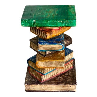 Hand Carved Stack of Books Side Table For Sale