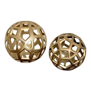 Modern Contemporary Gilt Metal Cutout Orbs - a Pair For Sale