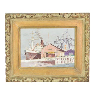 Mid-Century Impressionist Industrial Wharf Scene Oil Painting by Shigeo Wakaishi For Sale
