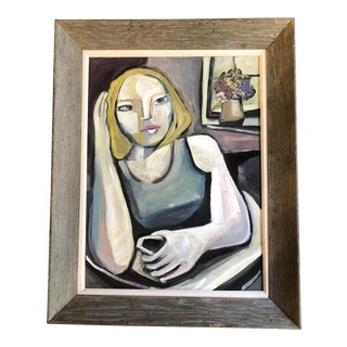 Original Stewart Ross Modernist Female Portrait Interior For Sale