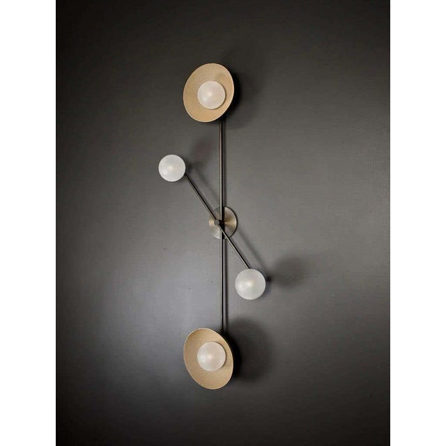 Not Yet Made - Made To Order Division Wall Sconce or Flushmount in Oil-Rubbed Bronze, Mesh & Blown Glass For Sale - Image 5 of 8