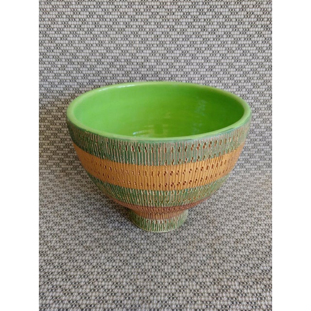 Italian Vintage Bitossi Italy Ceramic Footed Bowl For Sale - Image 3 of 8