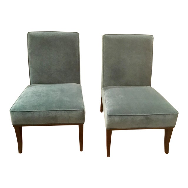 Blue Ambella Home Blue Velvet Gigi Slipper Chairs -a Pair For Sale - Image 8 of 8