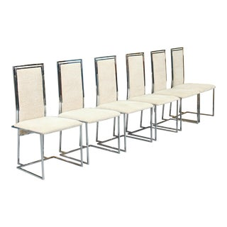 Milo Baughman Style Chrome Dining Chairs Set of 6