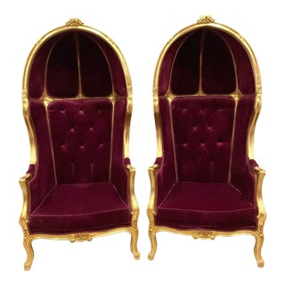 French Burgundy Velvet Throne Balloon Chairs- a Pair For Sale