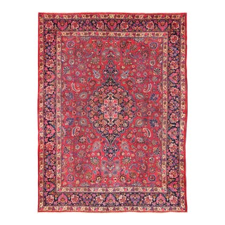 1950s Vintage Persian Mashad Rug - 9′10″ × 12′10″ For Sale