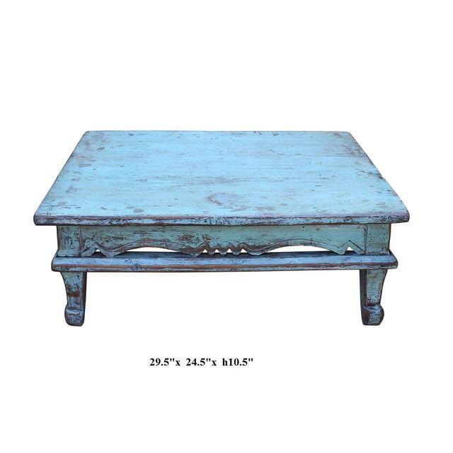 Chinese Distressed Rustic Light Blue Low Kang Table - Image 4 of 4