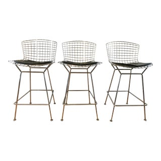 Vintage Mid-Century Modern Knoll Bertoia Counter Stools - Set of 3 For Sale