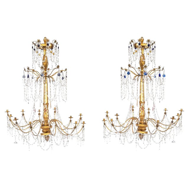18th Century Italian Giltwood and Gilded Iron Chandeliers - a Pair For Sale