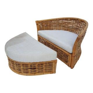 Woven Rattan Lounge Chair and Ottoman