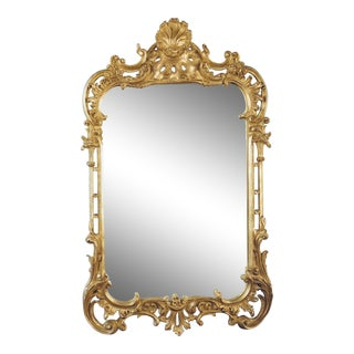 Carvers' Guild Chippendale Gold Leaf Shell Mirror For Sale