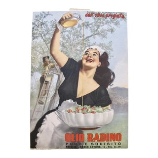 1950 Oversize Original Italian Advertising Carton, Olio Radino