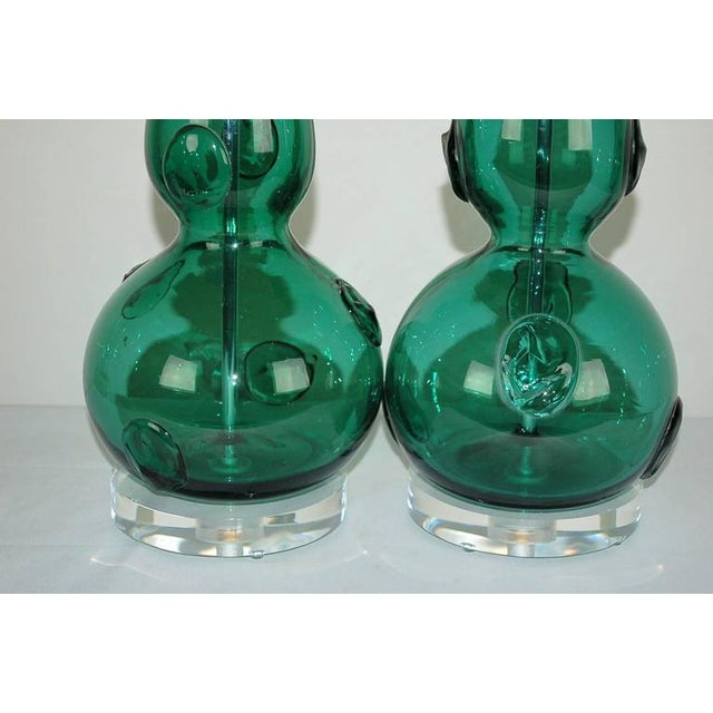 Vintage Murano Glass Table Lamps Prunts Green For Sale In Little Rock - Image 6 of 10
