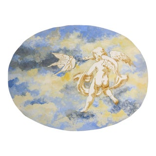 1970's Putti & Peace Dove Painting For Sale