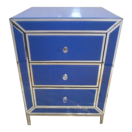 Contemporary Blue Bedside End Table - Image 1 of 7