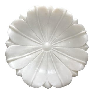 White Flower Shaped Marble Flat Bowl / Plate