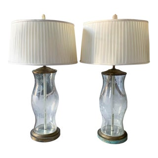 Pair, Antique Glass Hurricane Lamps With Eagle and Star Motif For Sale