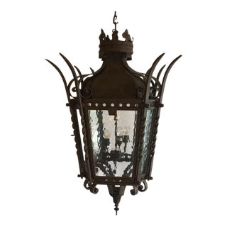 1980s Gothic Hand Forged Iron Hanging Lantern