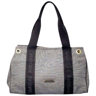 Salvatore Ferragamo Vintage Nautical Striped Navy Canvas Tote For Sale