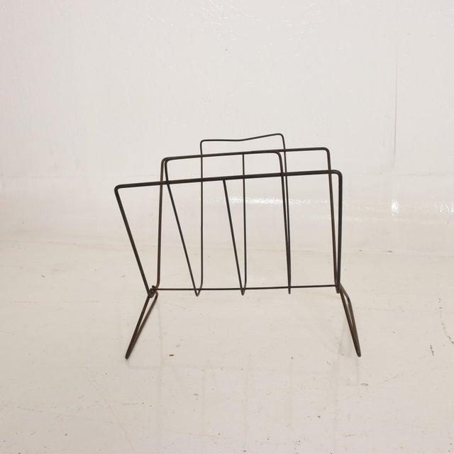 Boho Chic Mid-Century Modern Nelson Era Sculptural Iron Magazine Rack For Sale - Image 3 of 7