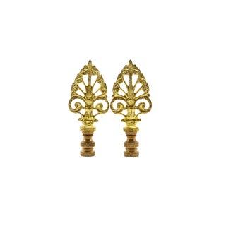 Brass Filigree Arrow Lamp Finials - a Pair For Sale
