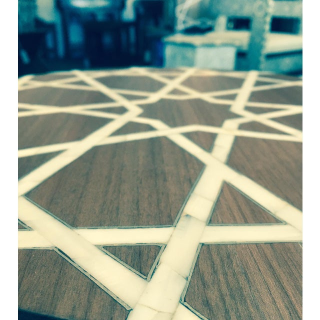 2010s Modern Islamic Style Mother of Pearl Inlay Side Table For Sale - Image 5 of 7