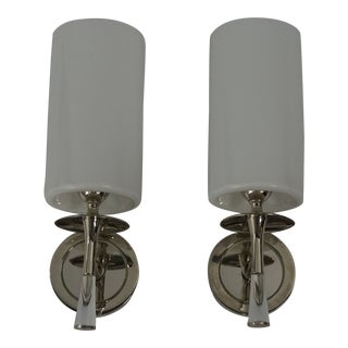 Aerin Drunmore Polished Nickel & Crystal With Glass Shades Sconces - a Pair