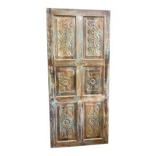 Vintage Rustic Floral Carved Barn Door For Sale