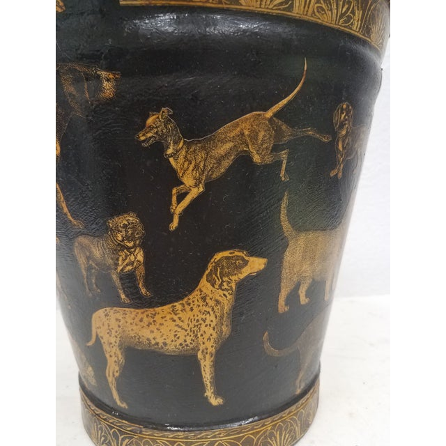 English Antique Bucket / Pail With Decoupage Dogs - Found in Southern England For Sale In Dallas - Image 6 of 13