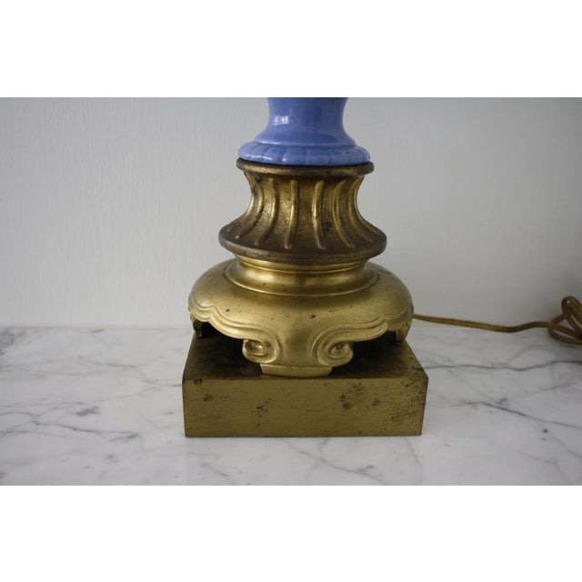 Antique Blue and White Urn Lamp with Gold Base For Sale - Image 4 of 10