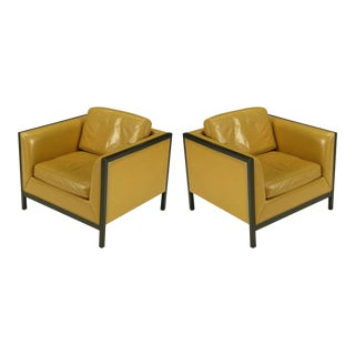 Pair of Stow Davis Leather, Ebonized Wood and Aluminium Even Armchairs For Sale