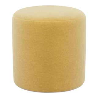 Drum Ottoman in Canary Yellow Velvet For Sale