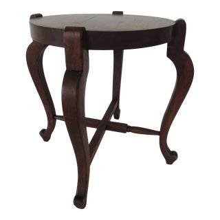 Antique Round Plant Stand With X Base Stretcher For Sale